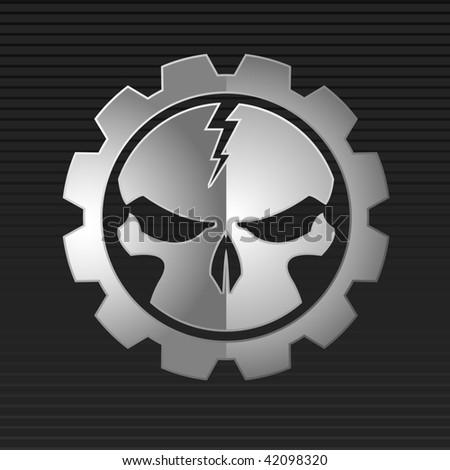 Vector illustration of metal skull over gray background - stock vector