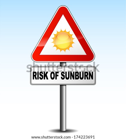 vector illustration of metal warning sign about sunburn