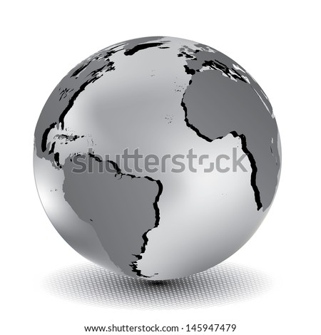 Vector illustration of metallic world globe. - stock vector