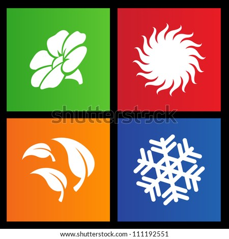 vector illustration of metro style four seasons icons - stock vector