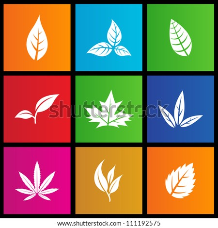 vector illustration of metro style leaves icons - stock vector