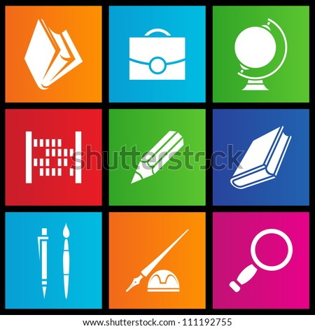 vector illustration of metro style school objects - stock vector
