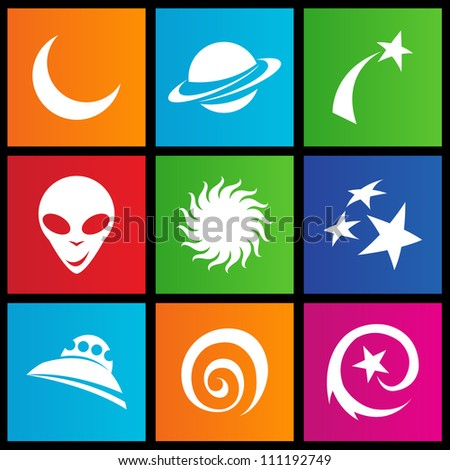 vector illustration of metro style space icons - stock vector
