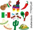 Vector Illustration of 9 Mexican party icons - stock photo