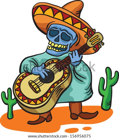 Vector illustration of mexican traditional character with guitar - stock vector