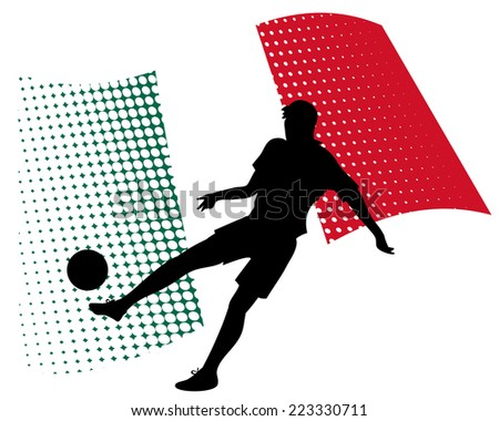 vector illustration of mexico soccer player silhouette against national flag isolated on white