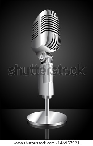 vector illustration of microphone on black background - stock vector