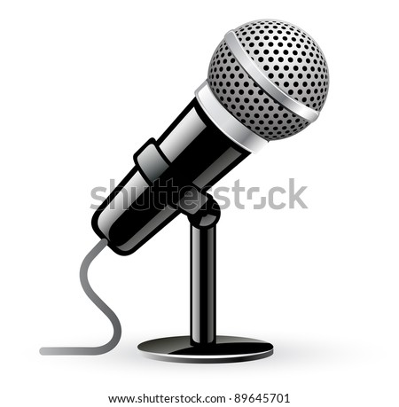 Vector illustration of microphone on white background
