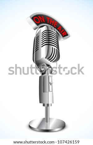 vector illustration of microphone with on air tag on black background - stock vector