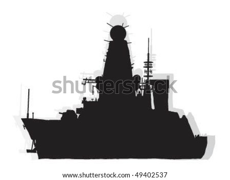 Vector illustration of military,rocket destroyer,ship.