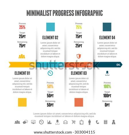Vector illustration of minimalist progress infographic design element. - stock vector