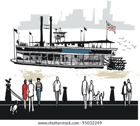 Vector illustration of Mississippi paddle steamer with people on wharf - stock vector