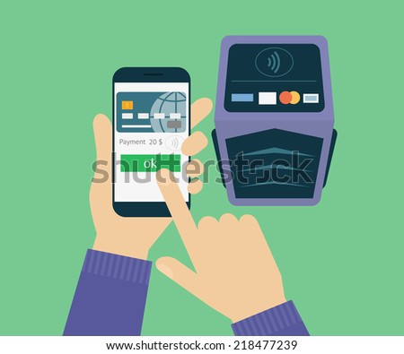 Vector illustration of mobil payment via smartphone. Human hand holds mobile phone and tap to pay fees wireless via nfc. Flat design for contactless mobil payment and banking by credit card - stock vector