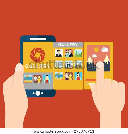 Vector illustration of mobile app for camera and gallery - stock vector
