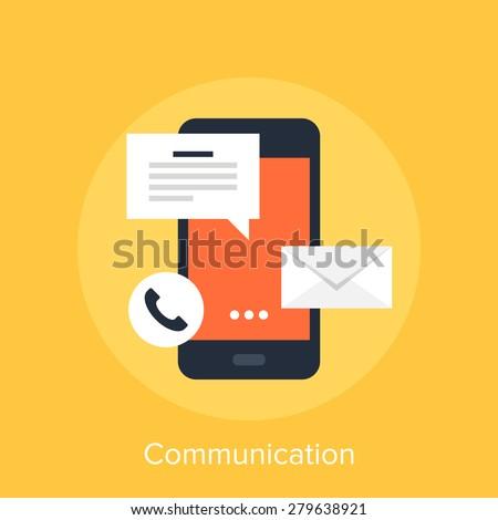 Vector illustration of mobile communication flat design concept. - stock vector
