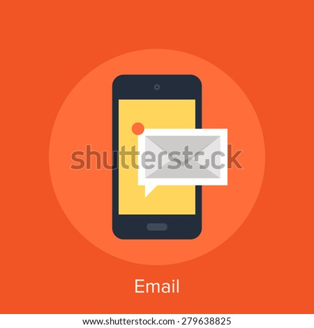 Vector illustration of mobile email flat design concept. - stock vector
