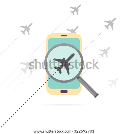 Vector illustration of mobile flight search concept. - stock vector