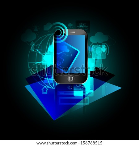 vector illustration of mobile networking with advanced technology and global business process concepts this can advanced concepts business