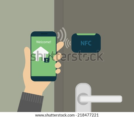 Vector illustration of mobile remote unlocking home door via smartphone. Human hand holds smartphone with app to remote access and lock his smart house. Flat security concept for smart home lock door - stock vector