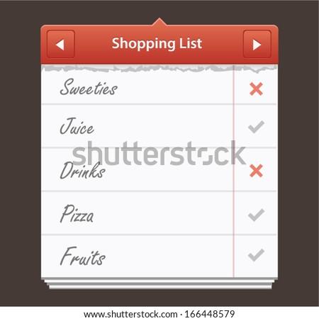 Vector illustration of mobile task list widget - stock vector