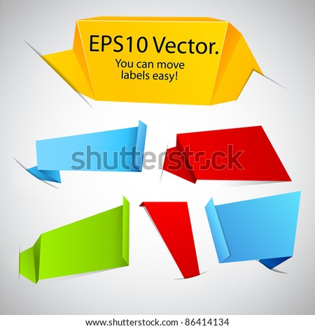 Vector illustration of modern advertisement paper origami labels in pockets. - stock vector