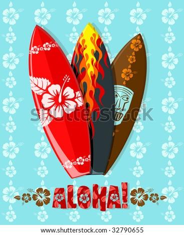 Vector illustration of modern aloha surf boards - stock vector