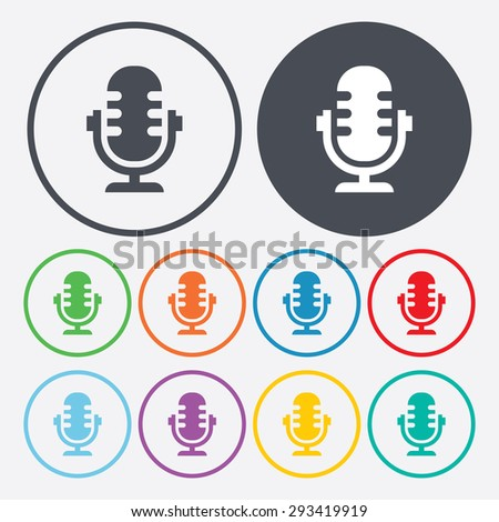 vector illustration of modern b lack icon microphone