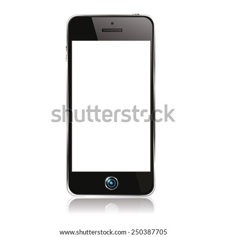 vector illustration of modern black mobile phone in a yellow frame on a white background