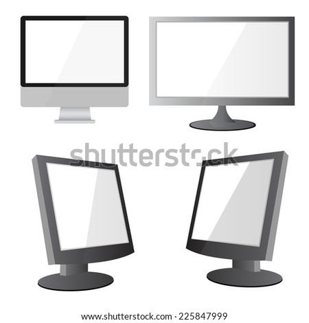 Vector illustration of modern flat screen computer monitor, isolated on white background - stock vector