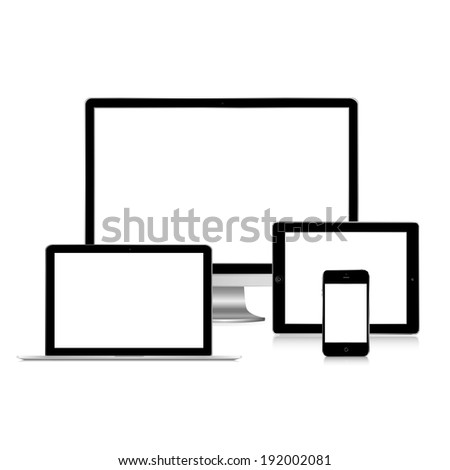vector illustration of modern gadgets black on a white background - stock vector