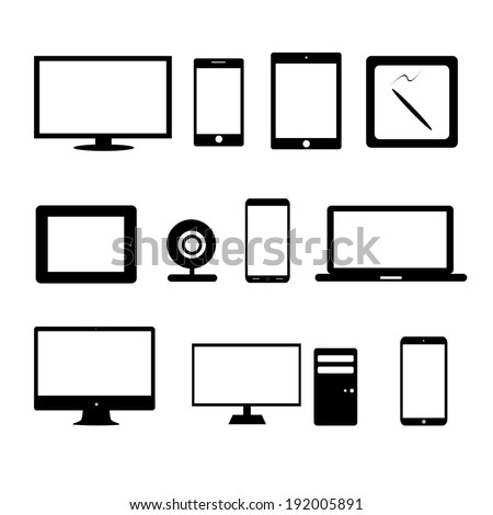 vector illustration of modern gadgets silhouettes on white background - stock vector