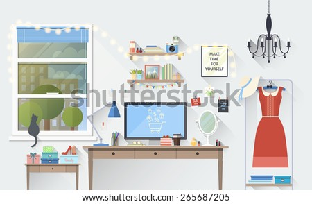 Vector illustration of modern girl workplace in room. Creative office workspace blogger with elements objects items, equipment. Flat minimalistic style with long shadow, modern colors icons collection - stock vector