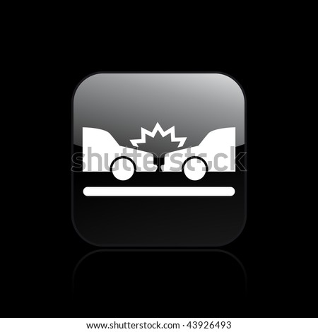 Vector illustration of modern glossy black icon depicting a car accident