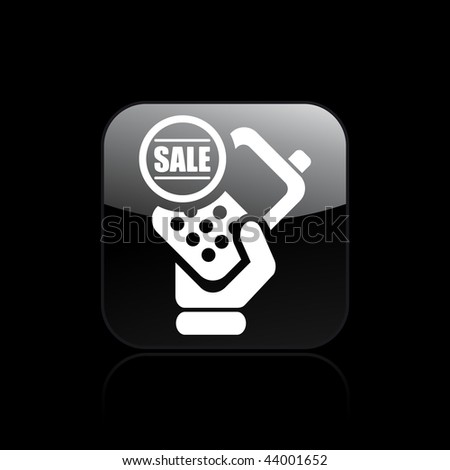 Vector illustration of modern glossy black icon depicting a cellular phone in sale