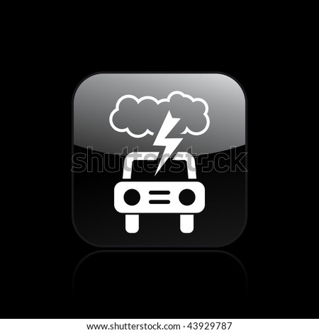 Vector illustration of modern glossy black icon depicting a nature damage for car