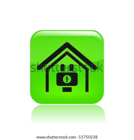 Vector illustration of modern glossy icon depicting a current in a dwelling - stock vector