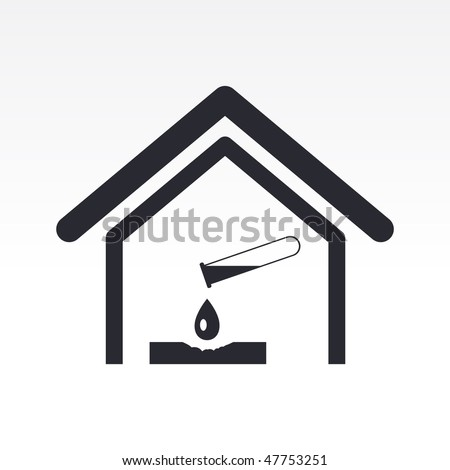 Vector illustration of modern glossy icon depicting a danger signal indoors - stock vector