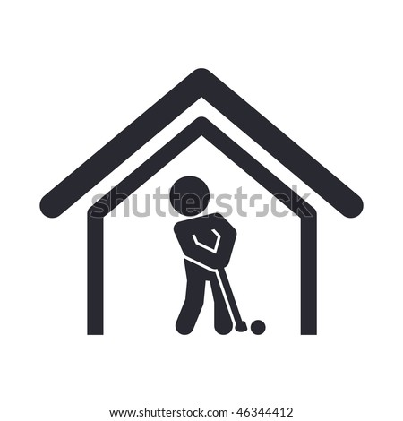 Vector illustration of modern glossy icon depicting a golf club - stock vector