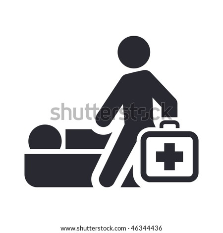 Vector illustration of modern glossy icon depicting a physician home visit - stock vector