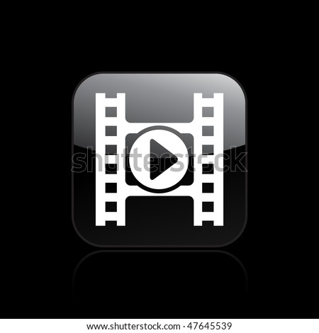 Vector illustration of modern glossy icon depicting a play button of a video player - stock vector