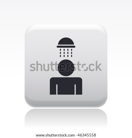 Vector illustration of modern glossy icon depicting a shower - stock vector