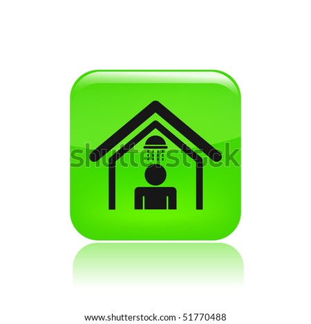 Vector illustration of modern glossy icon depicting a shower cabin - stock vector