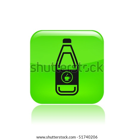 Vector illustration of modern green icon depicting a bottle of coffe, tisane or tea - stock vector