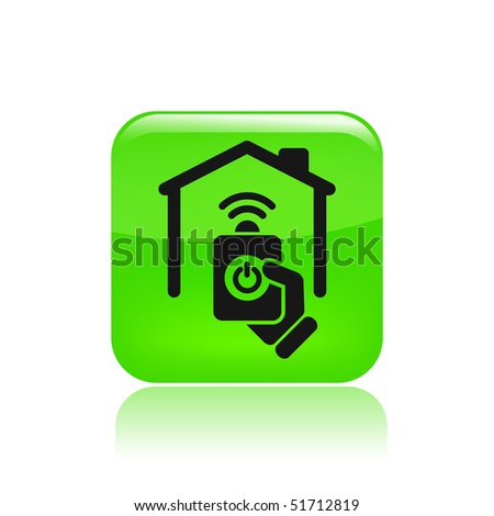 Vector illustration of modern green icon depicting a remote home