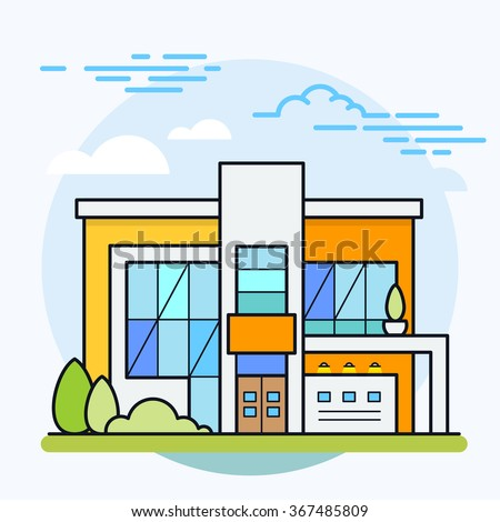 Vector illustration of modern house. House icon. Real estate. Eps 10.