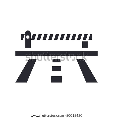Vector illustration of modern icon depicting a closed level crossing on the road - stock vector