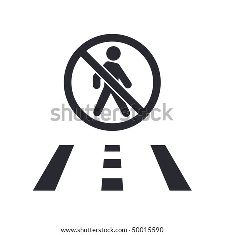 Vector illustration of modern icon depicting a pedestrian forbidden on the road sign - stock vector