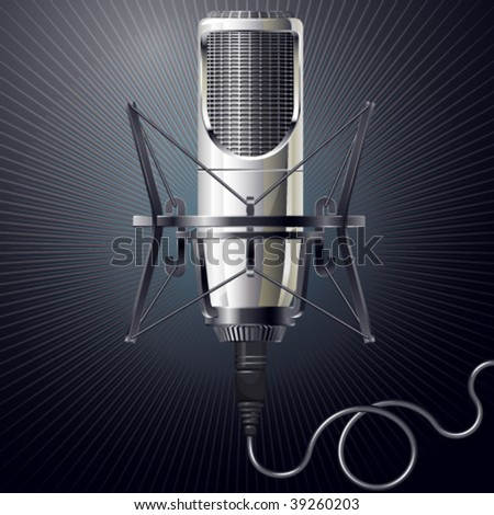 Vector illustration of modern microphone - stock vector