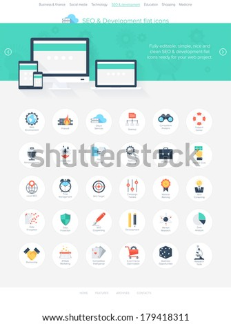 Vector illustration of modern, simple and flat search engine optimization icons. Design elements for mobile and web applications. Easy to edit web template for your project. - stock vector