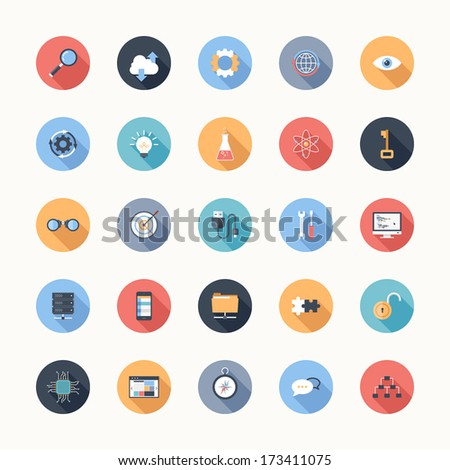 Vector illustration of modern, simple, flat seo and development icons with long shadow. Design elements for mobile and web applications. - stock vector